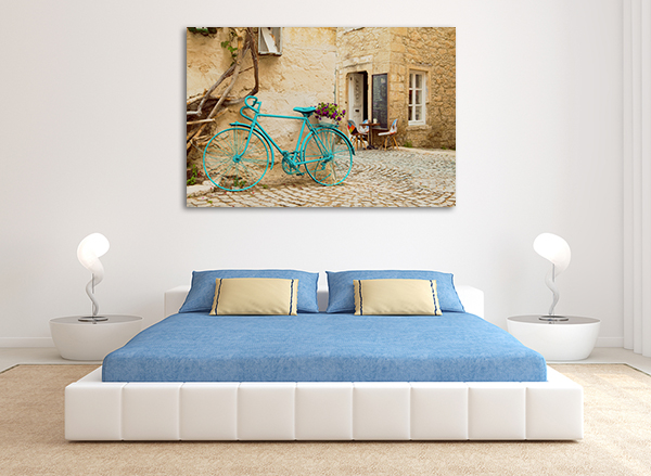 Blue Bicycle Wall Art Print on the wall