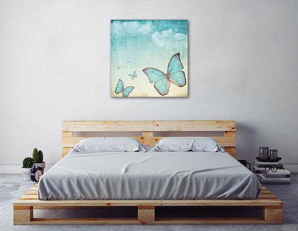 Blue Butterflies Prints Canvas