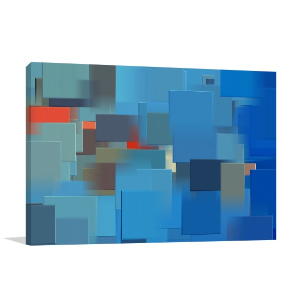 Blue Cubes Print Artwork