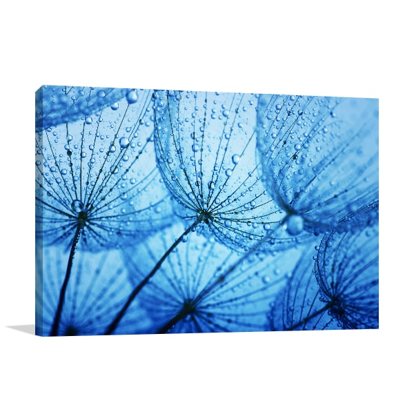 Blue Dandelion Canvas Art Print Artwork