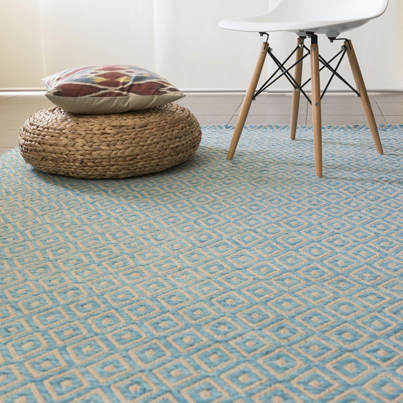 Geometric Blue Diamond Rugs Adelaide