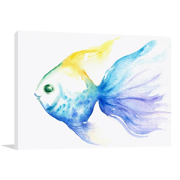 Blue Fish Canvas Art Print