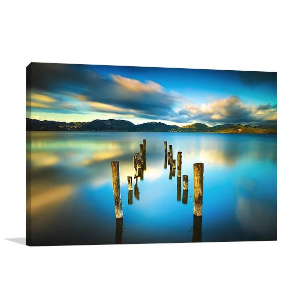 Blue Lake Sunset Wall Print