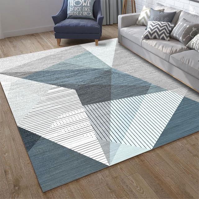 Blue Light Grey Geometric Patterned Rugs Non Slip Australia