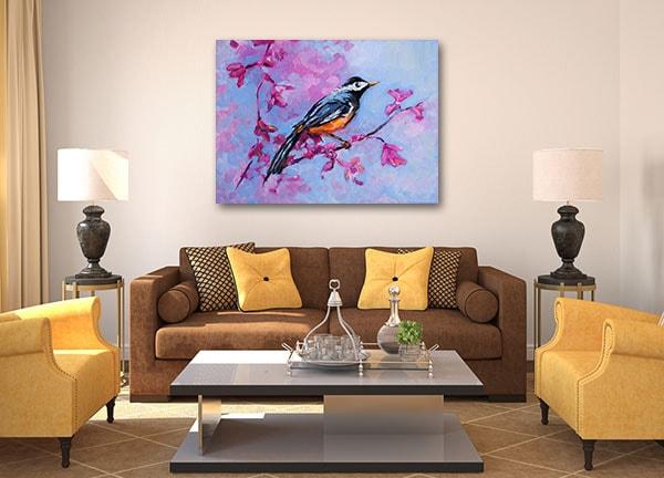 Blue Parakeet Art Print Prints Canvas