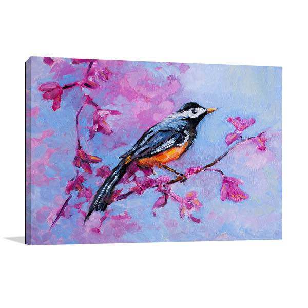 Blue Parakeet Art Print Canvas Art