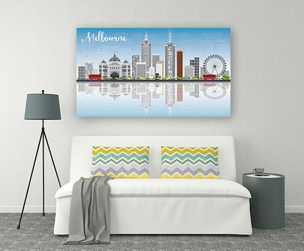 Blue Sky and Reflections Vector Illustration of Melbourne Prints Canvas