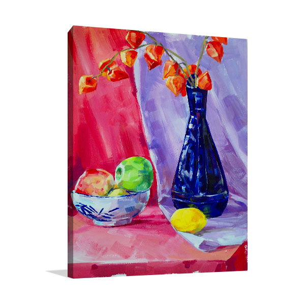 Blue Vase In Oil Painting Canvas Prints
