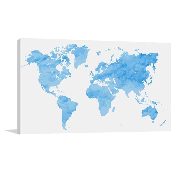 Blue Watercolor Map Artwork