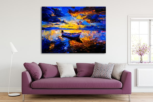 Boat in Sunset Print Artwork