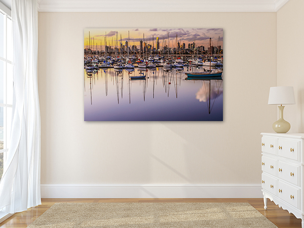 Boat Reflections Melbourne Art Print on the wall