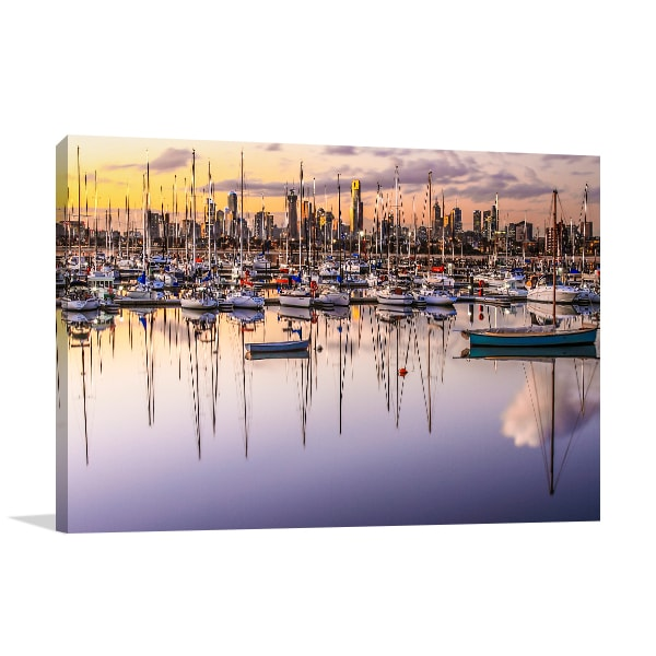 Boat Reflections Melbourne Canvas Art