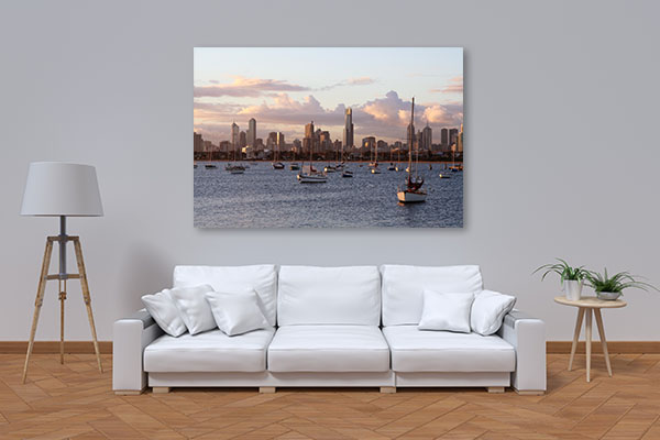 Boats and Buildings view in Melbourne Canvas Prints