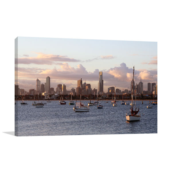 Boats and Buildings view in Melbourne Canvas Art Prints
