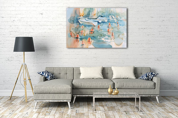 Boats and Buoys Prints Canvas