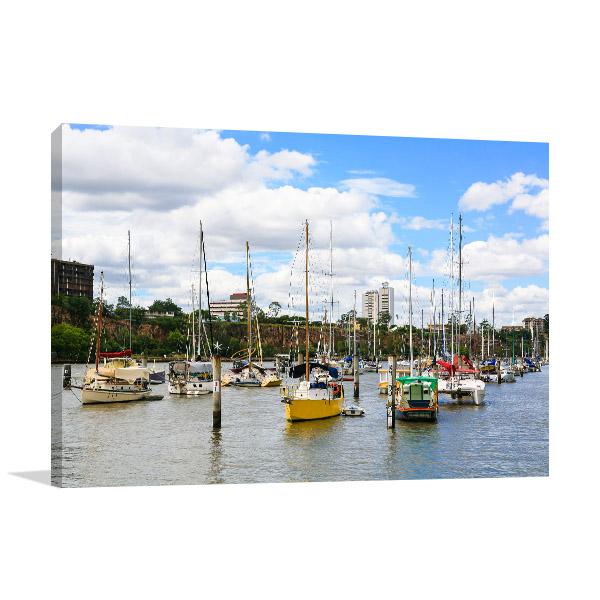 Boats on Brisbane River Canvas Art Prints