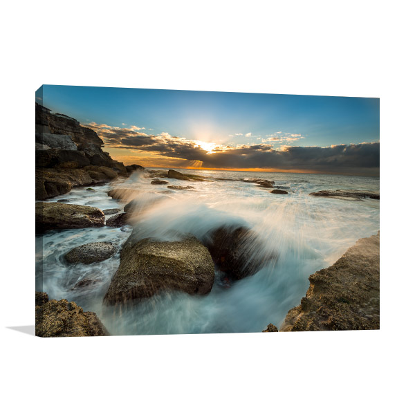 Bondi Beach Art Print Cloudy Sunrise
