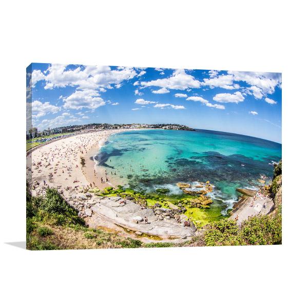 Bondi Beach Art Print Fish Eye View