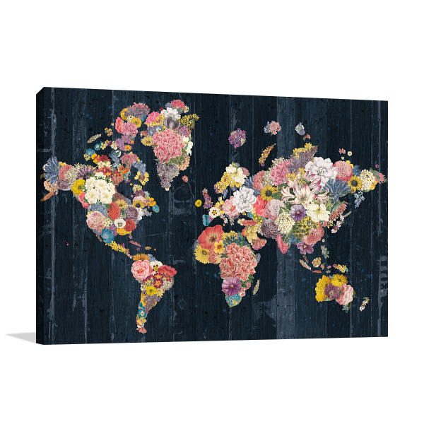 Botanical Floral Map Wall Art Print