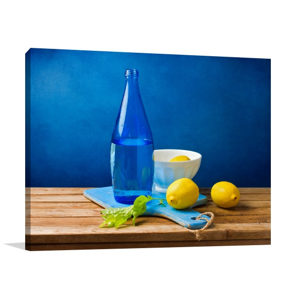 Bottle and Lemon Canvas Prints