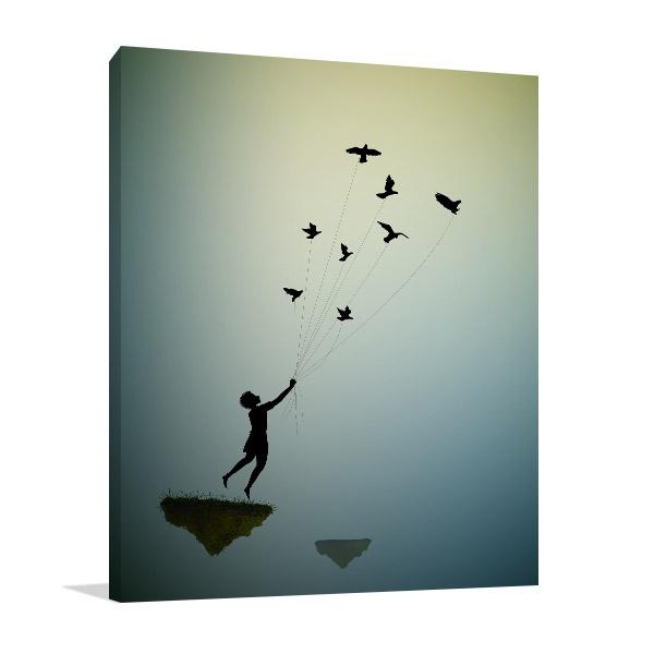Boy Flying Away Wall Art