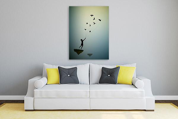 Boy Flying Away Canvas Art Prints