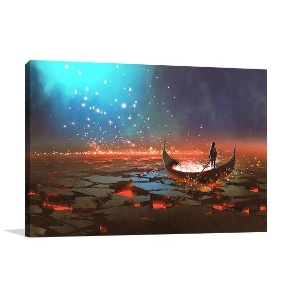Magical Boat Canvas Wall Print