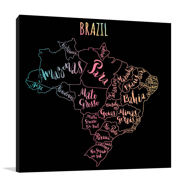 Brazil Map Wall Art