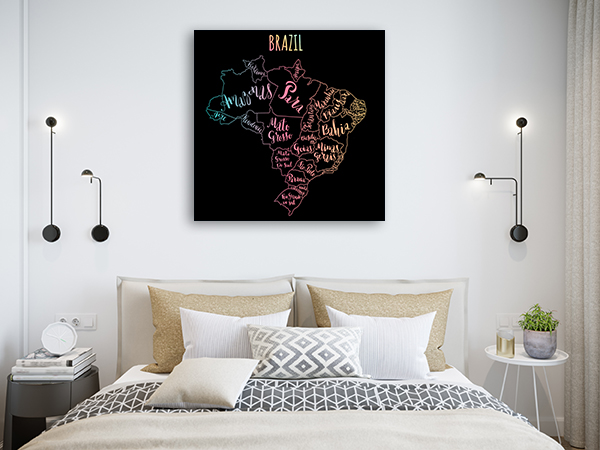 Brazil Map Canvas Prints
