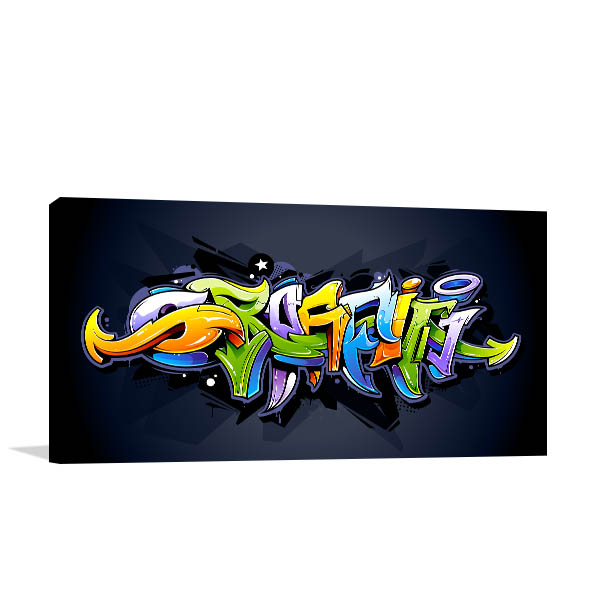 Bright Graffiti Lettering Wall Art