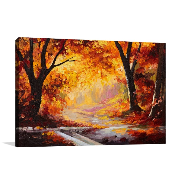 Bright Red Forest Wall Canvas