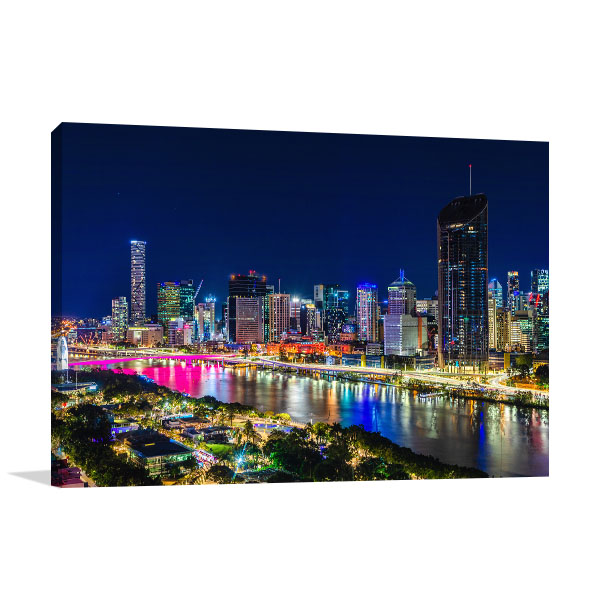 Brisbane Art Print CBD Night Time