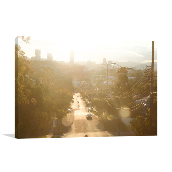 Brisbane Art Print Traffic Late Afternoon Sun