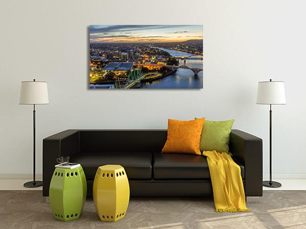 Brisbane City Art Print Aerial Bridge View Canvas Prints