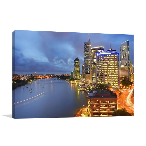 Brisbane City at Night Wall Print