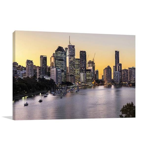 Canvas Wall Print | Brisbane City Riverside