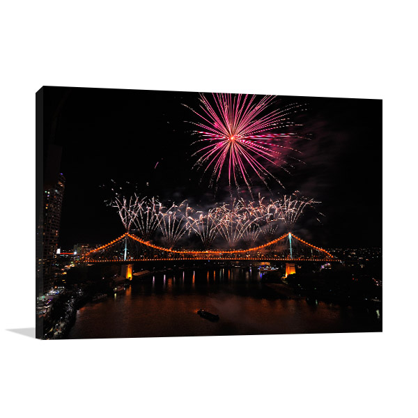 Brisbane River Fireworks Wall Art