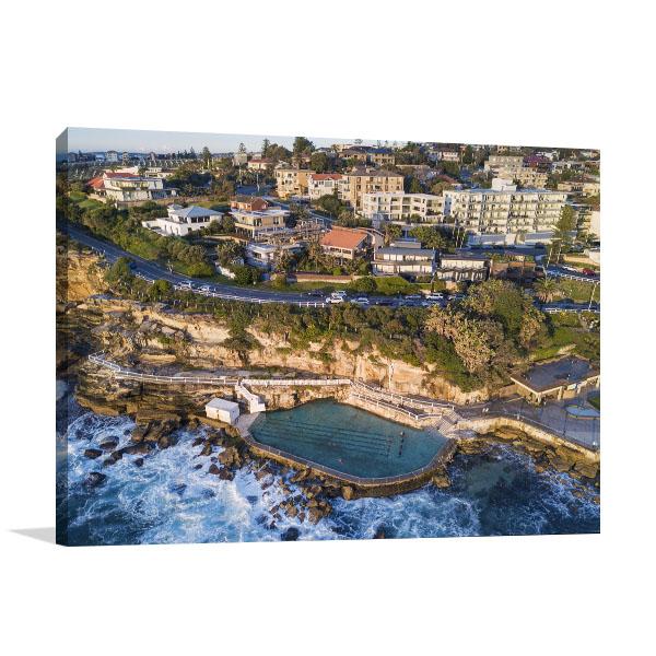 Bronte Rock Pool Art Print Residential Aerial View