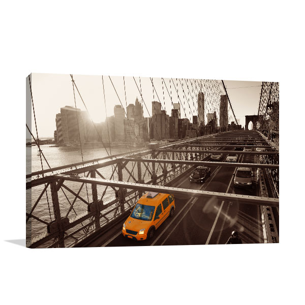 Brooklyn Bridge Traffic Canvas Prints