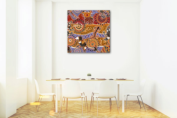 Brown Red Animals Prints Canvas