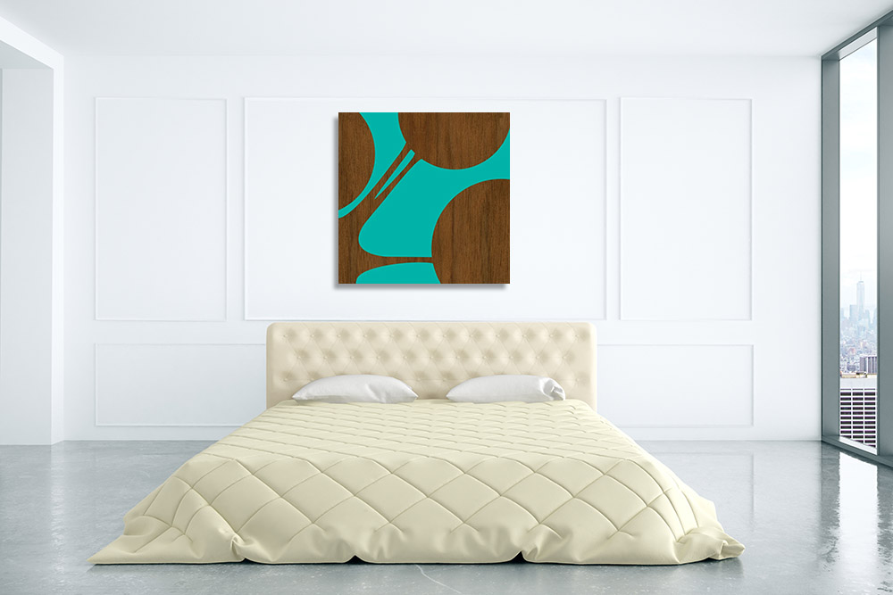 Circles Teal Artwork on Canvas