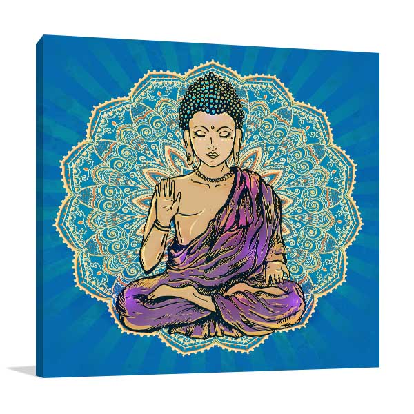 Buddha Statue in Blue Canvas Prints