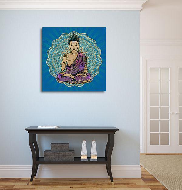 Buddha Statue in Blue Art Prints