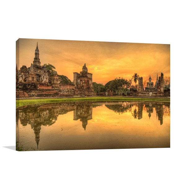 Buddhist temple at dusk print