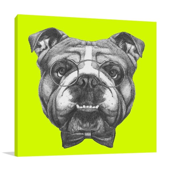 Bulldog in Glasses Art Print Prints Canvas