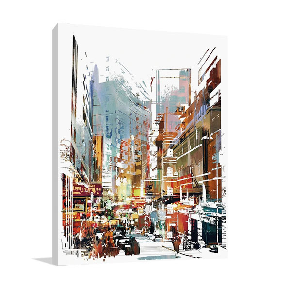 Busy City Street Canvas Print