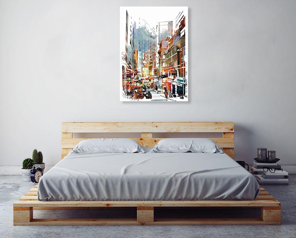 Cityscape Digital Art Print on Canvas