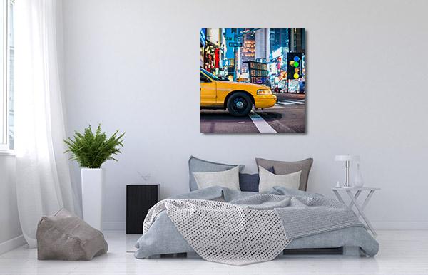 Cab in Manhattan Canvas Prints