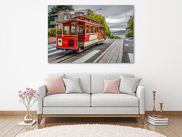 Cable Car Canvas Art Print on the wall