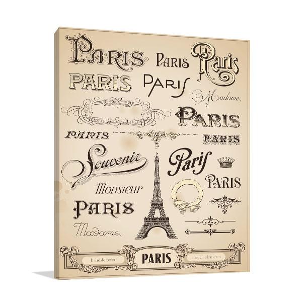 Calligraphy Paris Canvas Art Prints